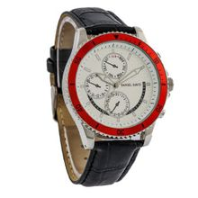 Daniel David `s DD12101 - Casual Sport - Black Crocodile Style Leather Band & Red Bezel