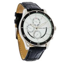Daniel David `s DD12102 - Casual Sport - Black Crocodile Style Leather Band & Black Bezel