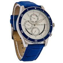 Daniel David `s DD12103 - Casual Sport - Blue Crocodile Style Leather Band & Blue Bezel