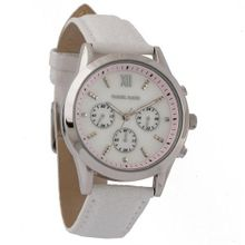 Daniel David `s DD12401 - Fashion - White Genuine Leather Snake Pattern Band & White Dial