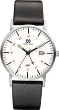 Danish Design IQ12Q1061 Black Leather Band White Dial Silver Stainless Steel