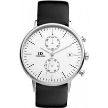Danish Design IQ12Q975 Stainless Steel Case Black Leather Band Chronograph