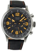 Davis XXL Aviamatic with Waterproof Chronograph and Black Leather Strap with Orange Top-stitching