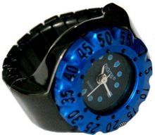 Lunar Diver Ring in Chrome with Blue Bezel