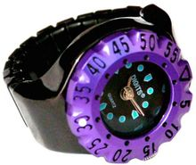 Lunar Diver Ring in Chrome with Purple Bezel