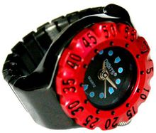 Lunar Diver Ring in Chrome with Red Bezel