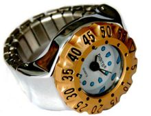 Stellar Diver Ring in Silver with Gold Bezel