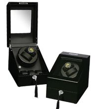 Black Wood Finish 2 Winder With 3 Additional Storage Spaces, One Turntable With 4 Program Settings.
