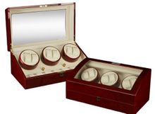 Burgundy Wood Finish 6 Winder With 7 Additional Storage Spaces, Three Turntable With 4 Program Settings.