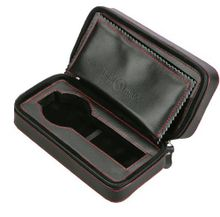 Diplomat 31-467 Black Leather Double Zippered Travel Case with Black Suede Interior Case