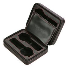 Diplomat 31-468 Black Leather Quad Zippered Travel Case with Black Suede Interior Case
