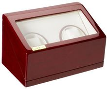 Diplomat 31-527 Double Cherry Wood Winder with White Leatherette Interior and Built In IC Timer