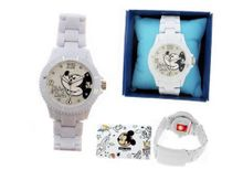 Mickey Mouse with White High Tech Strap, New Collection and Crystal on Dial
