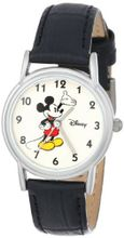 Disney D072S005 Mickey Mouse Black Leather Strap