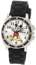 Disney Kids' MK1080 Mickey Mouse Black Rubber Strap