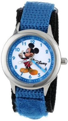 Disney Kids' W000011 Mickey Mouse Stainless Steel Time Teacher