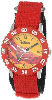 "Disney Kids' W000084 Cars ""Time Teacher"" Stainless Steel and Nylon"