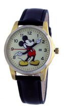 Disney #MCK870 Mickey Mouse Moving Hands Cream Gold Dial Black Leather