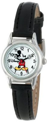 Disney Mickey Mouse MCK655 Moving Arms Black Strap Easy Read