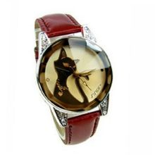 Eeleva Black Cat Lady's Fashion Quartz Wrist with Crystal Glass Surface