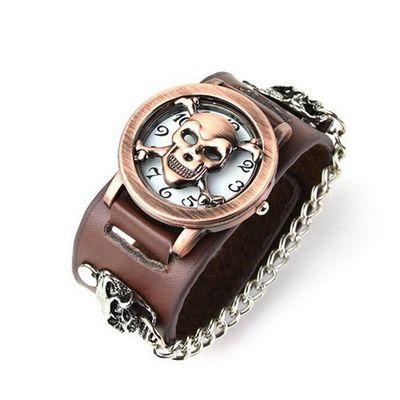 Eeleva Punk Gothic Ladies   Gens' Genuine Leather Wrist