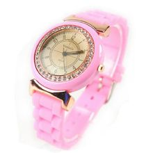 Eeleva  WOMAGE Rubber Quartz Jelly Candy Wrist Pink