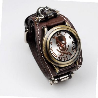 Punk Gothic Ladies   Gens Genuine Leather Wrist Rivet Chain Skull Brown