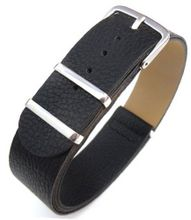 20mm Black Custom made NATO genuine leather strap