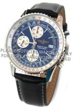 20mm Black Leather strap White Stitching Fits Breitling Navitimer