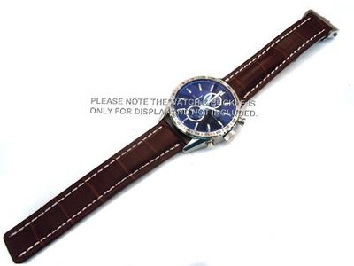 20mm DARK BROWN Padded Crocodile Grain Leather Strap for Deployment Clasp Fits TAG Heuer Carrera