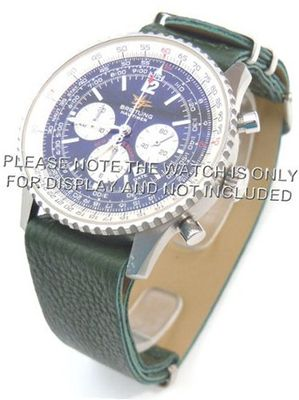 20mm Green Custom made NATO genuine leather strap fits Breitling Navitimer