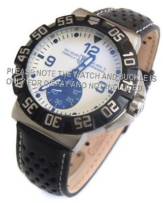 20mm Rally Perforated Leather strap contrast white stitching for TAG Heuer Carrera & Formula 1
