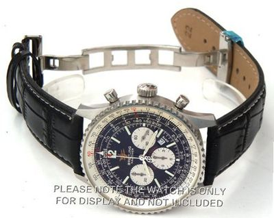 22mm Black Crocodile Strap White Stitching on deployant buckle Fits Breitling Navitimer
