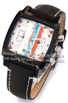 22mm Black Leather Carbon Fibre White Stitching Strap For TAG Heuer Carrera or Monaco