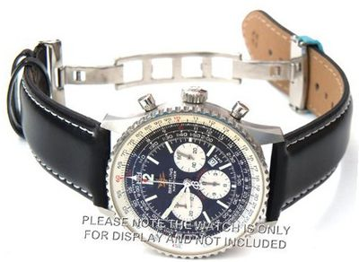 22mm Black Leather strap White Stitching on deployant buckle Fits Breitling Navitimer