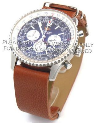 22mm Brown Custom made NATO genuine leather strap fits Breitling Navitimer