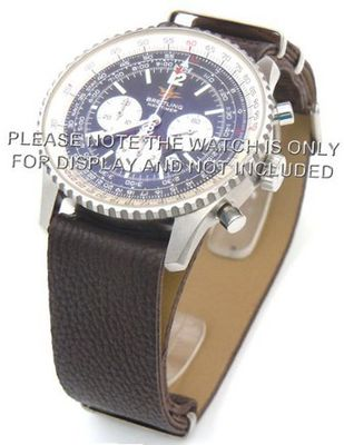 22mm Coffee Custom made NATO genuine leather strap fits Breitling Navitimer