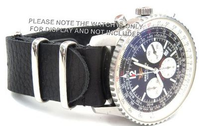 22mm Custom Hand made Black NATO genuine leather strap fits Breitling Navitimer