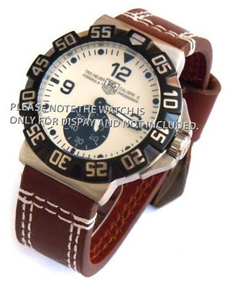 22mm Heavy Hand Stitches Dark Brown Leather Strap Fishtail Buckle ideal for TAG Heuer Formula 1
