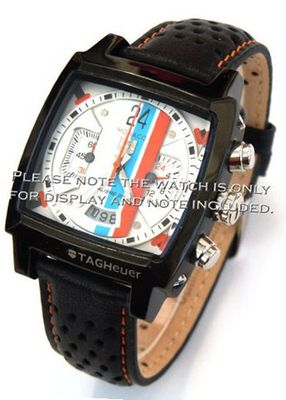 22mm Rally Perforated Leather strap contrast Orange stitching for TAG Heuer Carrera or Monaco