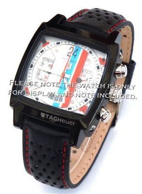 22mm Rally Perforated Leather strap contrast red stitching for TAG Heuer Carrera or Monaco