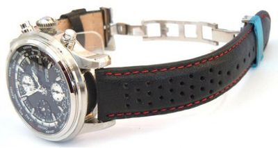 22mm Rally Perforated RED stitched Black Leather strap Butterfly deploymnent Clasp For BALL WATCHES