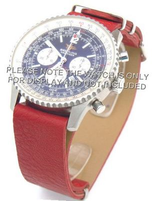 22mm Red Custom made NATO genuine leather strap fits Breitling Navitimer