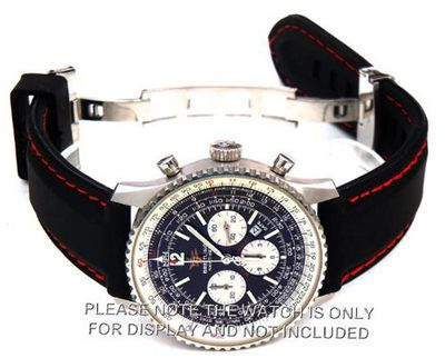 22mm 'soft touch' silicon rubber strap with RED stitching on stainless steel deployment Fits Breitling Navitimer