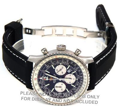 22mm 'soft touch' silicon rubber strap with WHITE stitching on stainless steel deployment Fits Breitling Navitimer