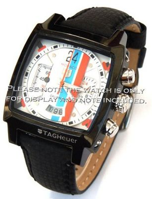 uEIEI 22mm Carbon Fibre Black Leather Stitching Strap For TAG Heuer Carrera or Monaco