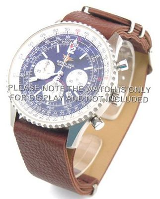 uEIEI 22mm Dark brown Custom made NATO genuine leather strap fits Breitling Navitimer