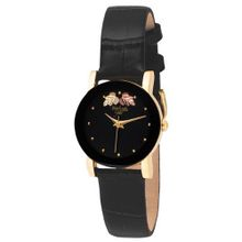 Elgin BHGL10 Black Hills Gold-Tone Black Strap Open Crystal