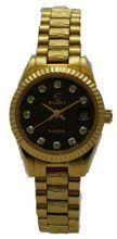 Elgin EG143 Diamond Black Analog Date Gold Plated Bracelet Style