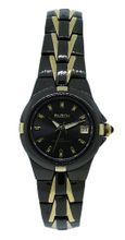 Elgin EG158N Black Analog Round Date Two Tone Bracelet Style